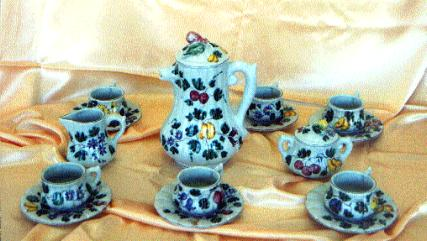 Artistic italian pottery of Albisola - Coffee service in majolica for six light blue