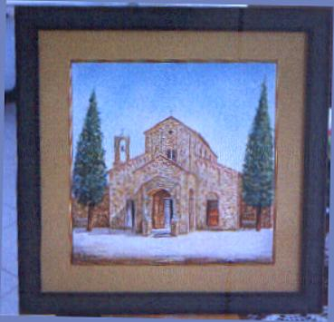 "Artistic italian pottery of Albisola - A framed with view of "" St Peter ' S Church """