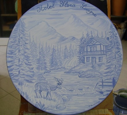 Plate with landscape.  - Plate with landscape painting.